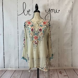 Johnny Was Butterfly Blouse Embroidered Boho Tunic
